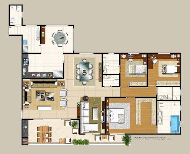 Planta Apartamento Tipo. Sala Ampliada